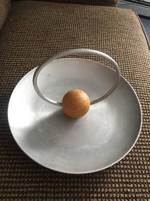Vintage Rare Russel Wright Spun Aluminum Serving Tray with Cork Ball and Handle