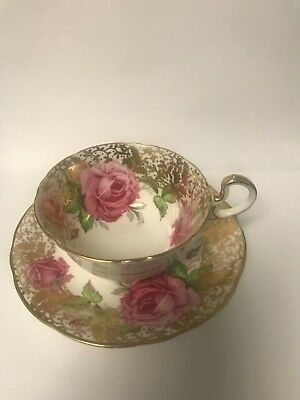 Aynsley Cabbage Rose Teacup Saucer Pink  Charming