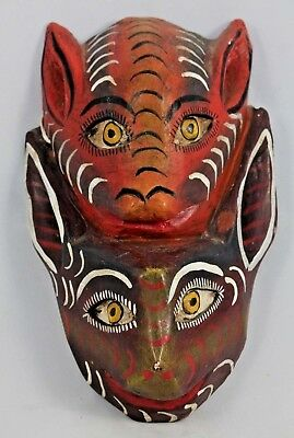 Vintage Mexican Wood Hanging Mask Folk Art Hand Tooled/Painted Collectible Bats
