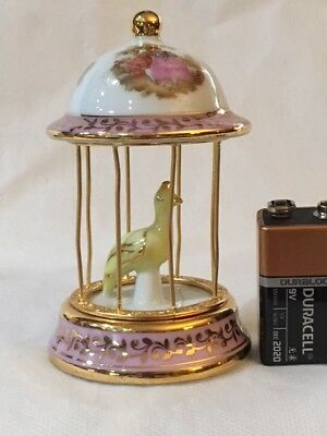 Limoges Miniature Yellow Bird In A Pink Cage  Fragonard  #5313