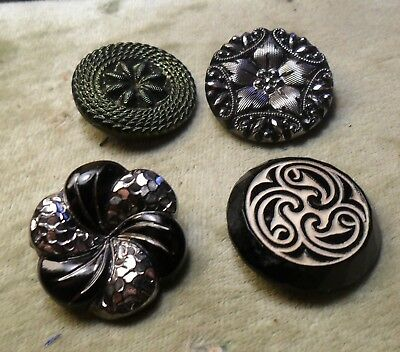 """NICE 15/16"""" Group of 4 NICE  GlassBlack Antique Button 322:27"""