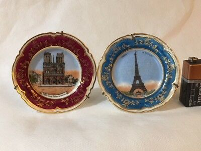 Limoges Miniature Notre Dame Eiffel Tower Plates with Stands  #5326