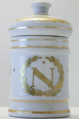 Very rare C.1815 gilt Napoleonic porcelain lidded jar with eagle and bee design