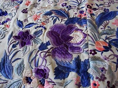 Antique Embroidered Piano Shawl Canton Manton de Manilla Peony Flowers Panel