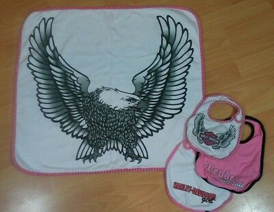 Harley davidson Baby Girl Pink White Eagle  Blanket 3/6 Months and Bibs O/S Lot