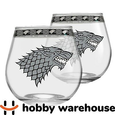 Game of Thrones House Stark Set of 2 Globe Glasses