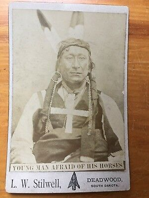 Photograph Sioux Plains Native American Indian Cabinet Card L. Stilwell ca. 1884