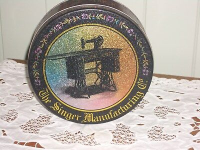 Sewing Tin, Round Black Repro 1980 -90's By Singer Manufacturing Co.