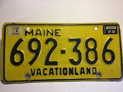 Maine License Plate 1972 1973 692-386 Car Tag