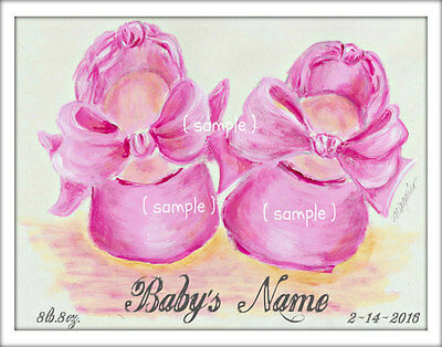 Birth Keepsake personalized print baby girl ballet shoes pink 11x14 nursery art