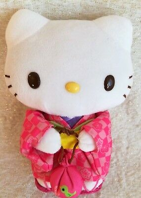 Sanrio Hello Kitty in Pink Kimono Sakura Print Stuffed Animal Plush Doll