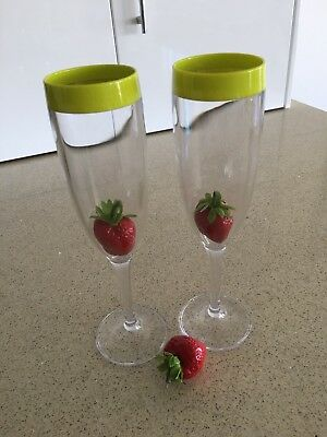 Tupperware Champagne Flute Glasses - Set of 2 - New!