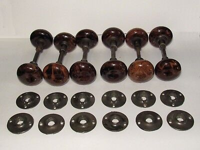 ONE Pair of Antique 1862 Bennington Swirl Civil War Era Door Knobs and Rosettes