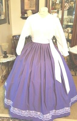 Civil War Dress~Victorian Style Lovely 100% Cotton Deep Purple Skirt & Sash Set