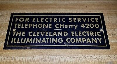 """1940's Cleveland Electric Illuminating Co. Telephone Exchange Metal Sign 6"""""""
