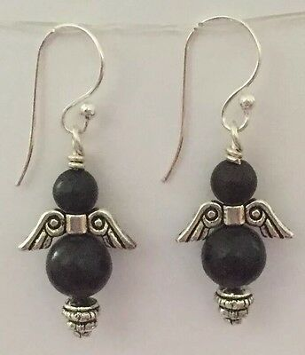 SHUNGITE Angel Earrings Made With 9mm & 6mm Beads PROTECTS Heals🎁free Gift Wrap