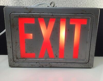 Vintage Working Metal Light Up Exit Sign Red Glass Plug In Ready Industrial Art