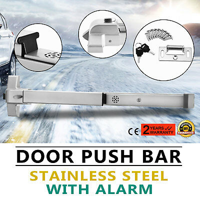 Door Push Bar+Alarm Panic Exit Device Lock Heavy Duty For Crowded Public Safe HQ