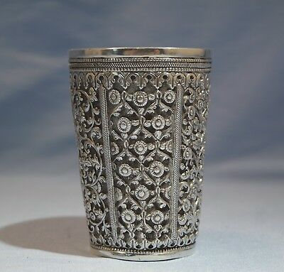 Indian Sterling Silver Floral Repousse Heavy Goblet Late 19th Century