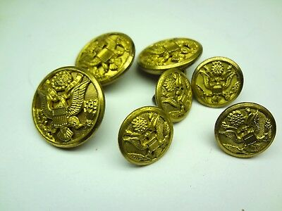 Lot 7 WWII US Army Uniform Buttons Waterbury Superior Quality Great Seal Eagle
