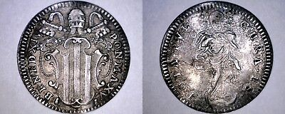 1754-XV Italian States Papal States 1 Grosso World Silver Coin - Benedict XIV
