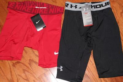 Lot Of 2 Nike & Under Armour Mens Compression Shorts 728050 1257472 Small Nwt
