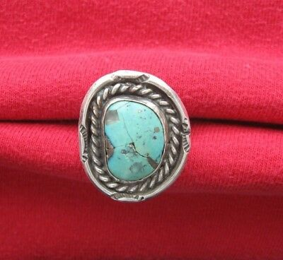 Vintage Native American Indian Southwestern Turquoise with Quartz Silver Ring