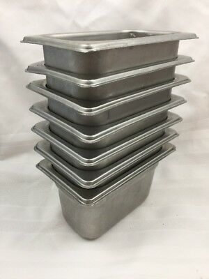"LOT OF 7 STAINLESS STEEL 18/8 ""DON"" STEAM TABLE PAN 1/9 SIZE-4"" INCH K9820 3of3"