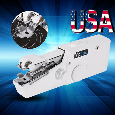 Mini Portable Cordless Hand-held Clothes Sewing Machine Home Travel Stitch White