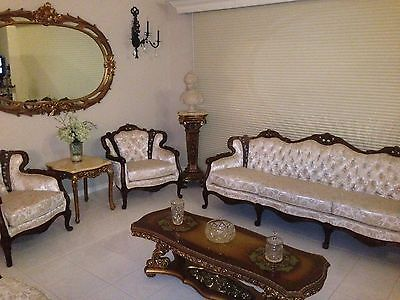 Hand Carved Walnut Antique 8 Leg Sofa and 2 Berger Chairs below appraised value