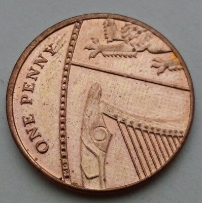 Great Britain, UK 1 Penny 2013. One Cent coin. ELIZABETH II.