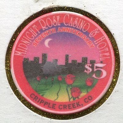 Midnight Rose $5 Cripple Creek CO  CG34660  Additional chips ship for 30c