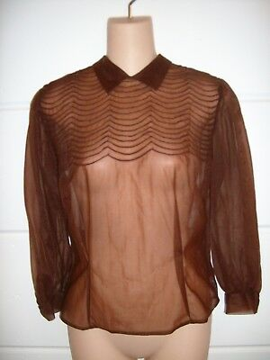 Judy Bond 1940's Brown Sheer 100% Nylon Fitted Blouse Size Small