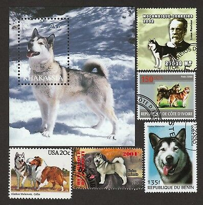 ALASKAN MALAMUTE  **Int'l Dog Postage Stamp Collection ** Unique Gift**