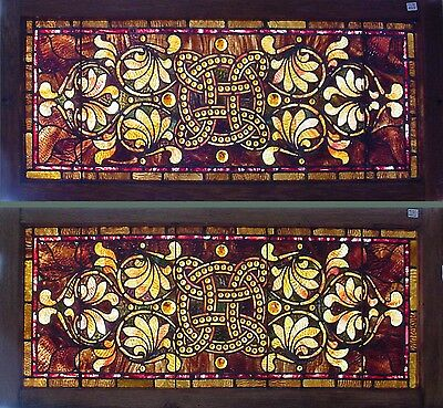 Pr. Antique American Stained and Jeweled Transoms from Cincinnati, circa 1890