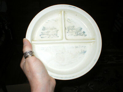 Antique Divided Milk Glass Baby Plate with Little Bo Peep Sheep