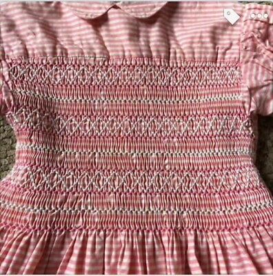 vintage original 1950s smocked 2 yrs cotton dress pink stripped collar