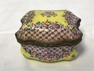 Antique Chinese Porcelain & Brass trinket box Signed
