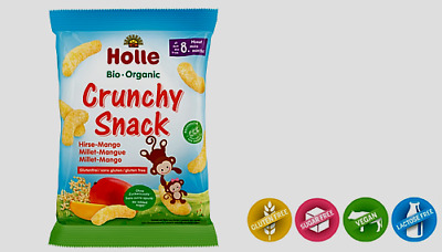 7  Packs Holle Organic Crunchy Snack Millet Mango from the 8th months New