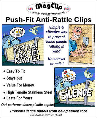 Anti-Rattle Fence Panel Security Clips/Grips Stops Rattling Fences-Magclip Pk 20