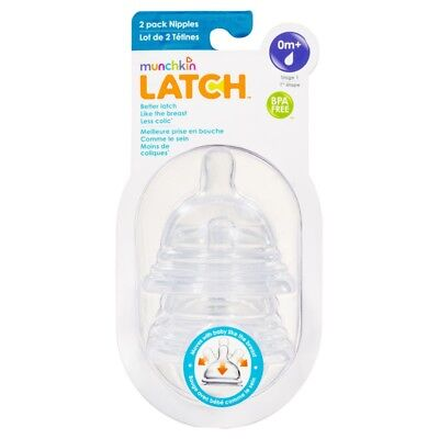 Munchkin Latch Stage 1 Nipple 2 Pack NEW Cincotta Chemist