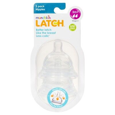 Munchkin Latch Stage 2 Nipple 2 Pack NEW Cincotta Chemist