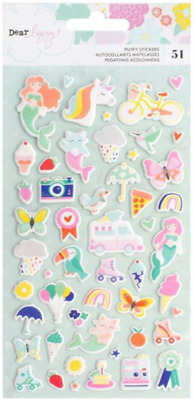 Dear Lizzy - Stay Colorful Puffy Stickers Unicorn Mermaid Rainbow 51 Various