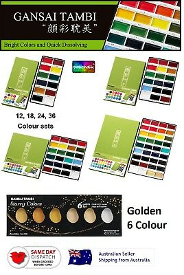 Zig Kuretake Gansai Tambi 12 18 24 36, Gold 6 Color Japanese Water Color Set
