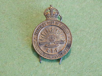 Ww1 Returned From Active Service Badge - Made By Stokes & Sons - Melbourne C1139