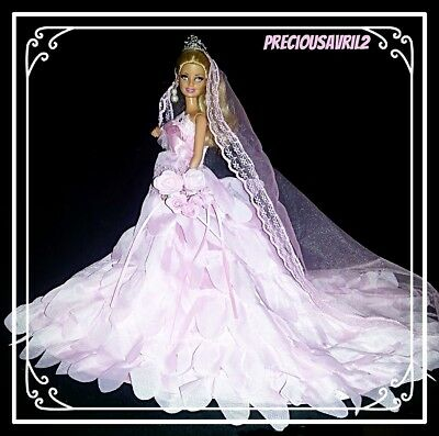Barbie Doll Wedding Clothes  - Pink Wedding Set/Evening/Gown/Party/Outfit