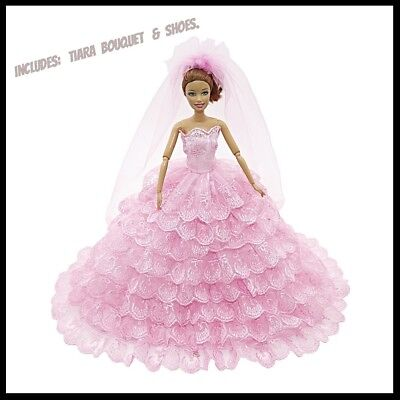 Barbie Doll Clothes Pink Wedding Set/Party/Evening/Clothing/Outfit/Dress/New