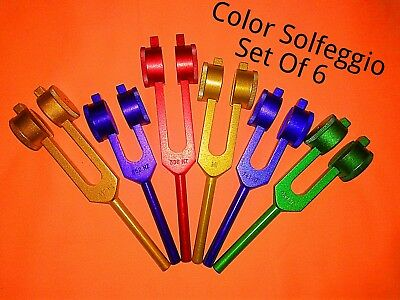 weighted 6 Sacred Solfeggio Coloured Tuning forks + Pouch + Activator