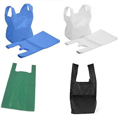 100 Plastic Carrier Bags Vest White Black Blue Green Small Medium Large New