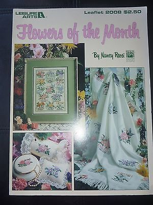 Leisure Arts Cross Stitch Pattern Flowers Of The Month Leaflet # 2008